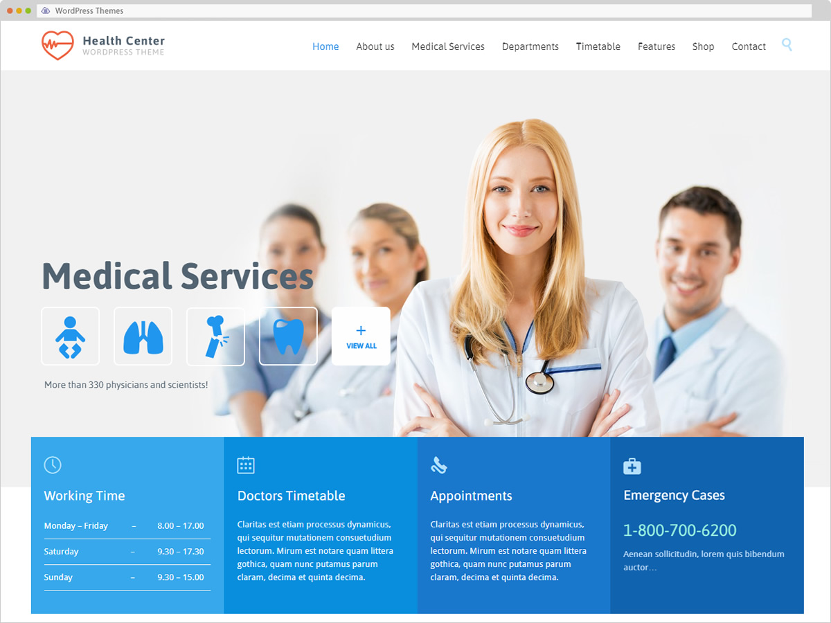 Medical & Dentist WordPress Theme